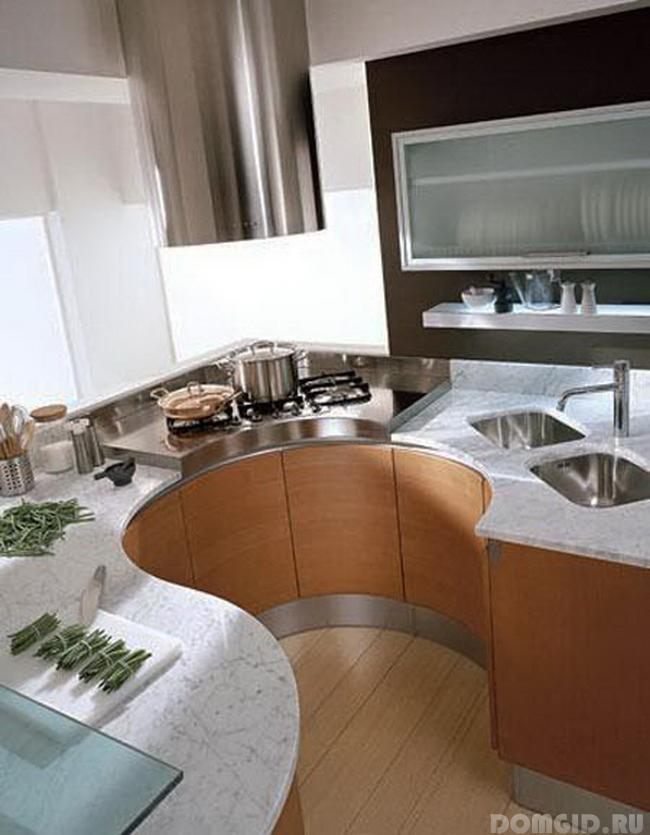 Дизайн угловой небольшой кухни