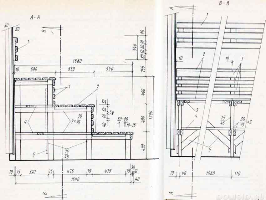 Как сделать полок для бани размеры 560