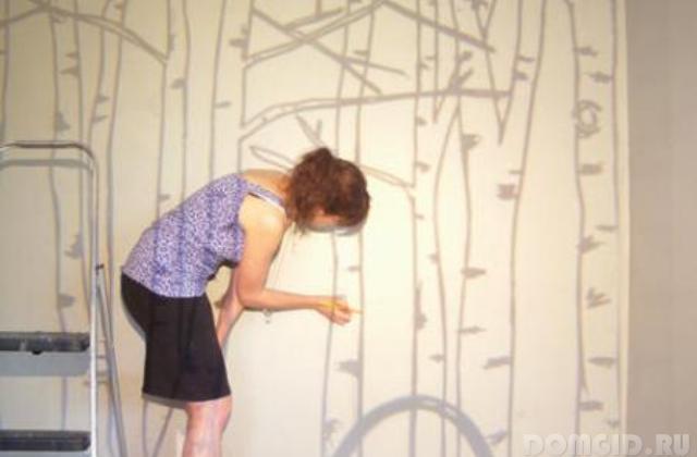 Как нарисовать березу на стене своими руками 573