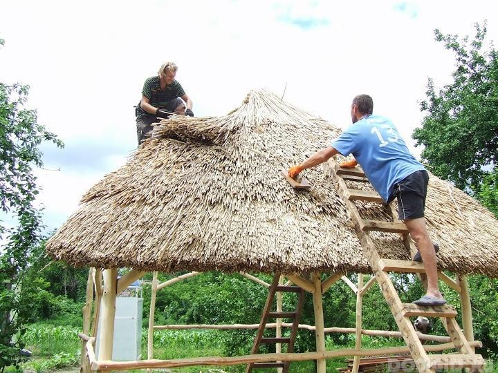 как вязать камыш для крыши