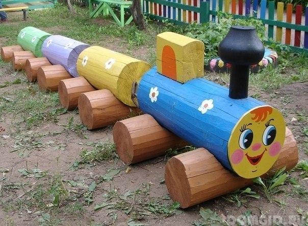 Как сделать паровозик своими руками на детскую площадку