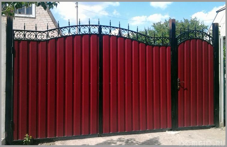Ворота профлиста своими руками фото