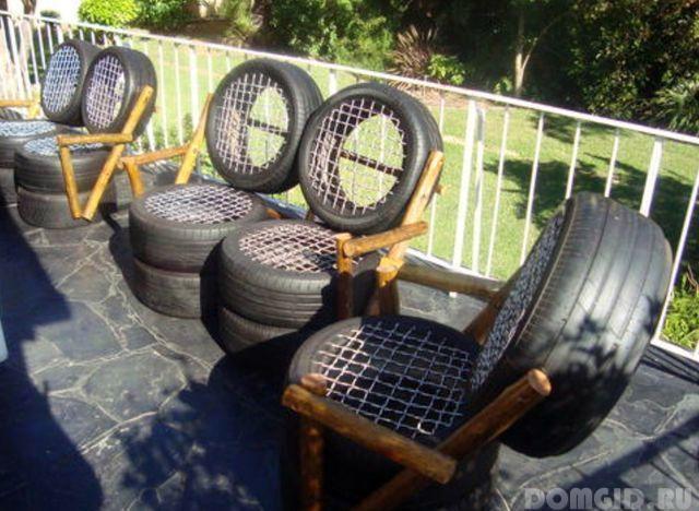 Мебель для сада своими руками из покрышек фото